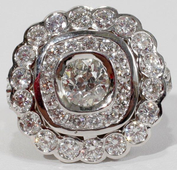 120012: OLD MINE CUT ROUND & PEAR DIAMOND RING