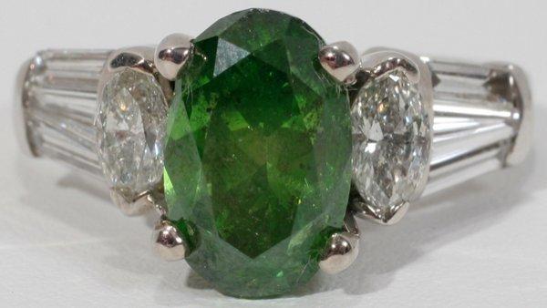 120014: 3.0CT FANCY ENHANCED GREEN DIAMOND RING