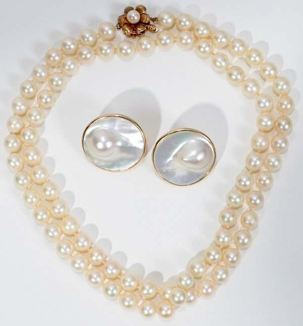 120016: 14K GOLD & ROSE PEARL NECKLACE & EARRINGS