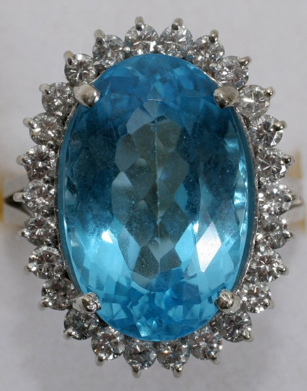120017: BLUE TOPAZ & DIAMOND RING