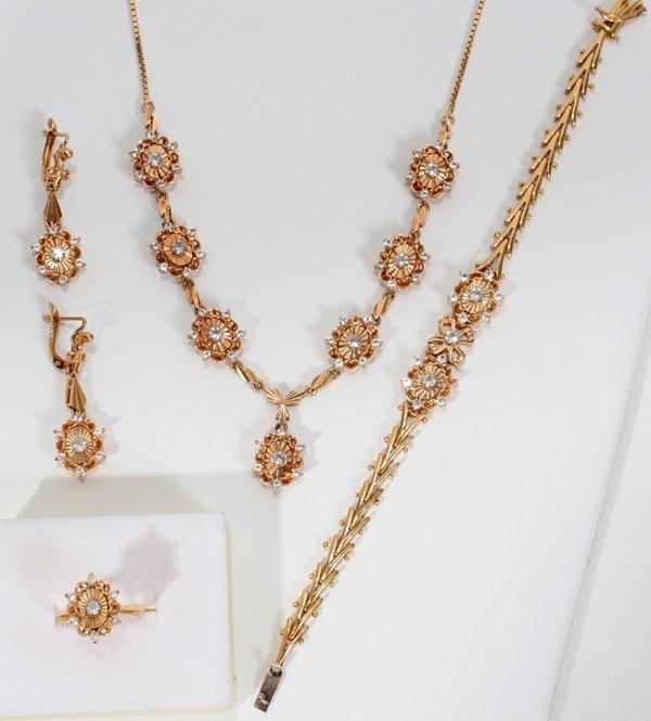 120020: 18K GOLD DIAMOND NECKLACE BRACELET EARRINGS