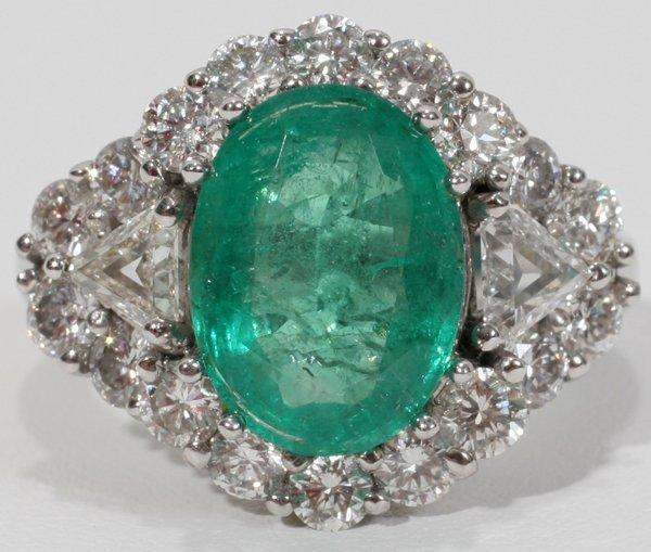 120024: 4.8CT GENUINE EMERALD & 2.5CT DIAMOND RING