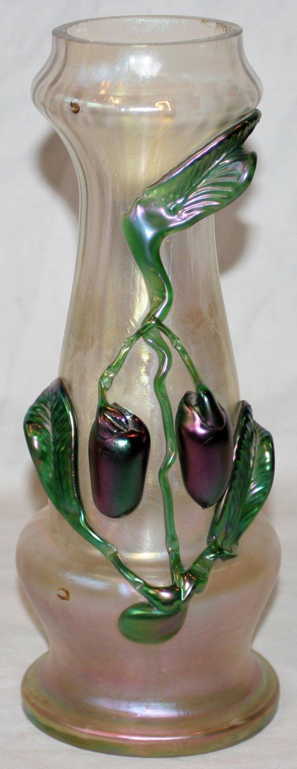 "121007: LOETZ ART GLASS VASE W/APPLIED FRUIT, H11"""