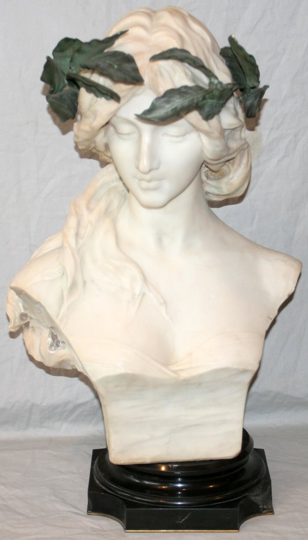121017: FERNANDO VICHI MARBLE BUST OF A YOUNG WOMAN