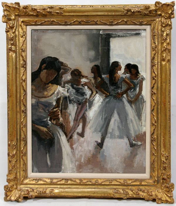 """122001: MOSES SOYER OIL ON CANVAS, """"BALLET STUDIO"""""""