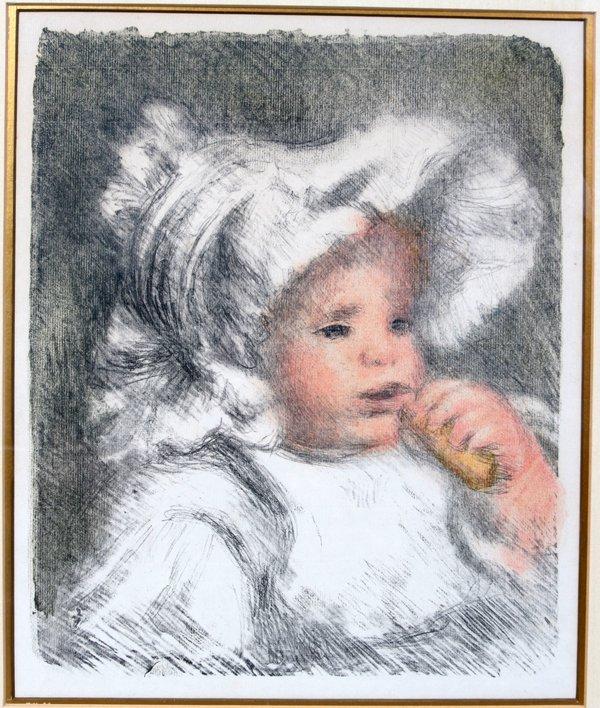 122012: PIERRE RENOIR LITHOGRAPH, L'ENFANT AU BISCUIT