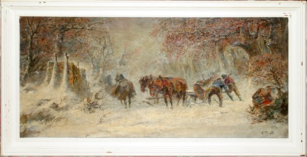 122024: A. TYROPE OIL ON CANVAS, LOGGING IN WINTER