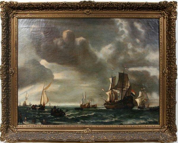 122111: VAN DER VELDE OIL ON CANVAS, MARINE SCENE