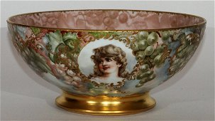 LIMOGES HAND-PAINTED PORCELAIN PUNCH BOWL, SIGNED