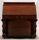 CARVED EMPIRE STYLE ROSEWOOD SLANT TOP DESK