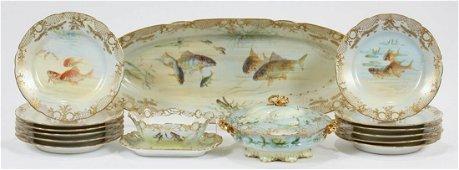 A. LAMM DRESDEN, PORCELAIN FISH SET, CIRCA 1885