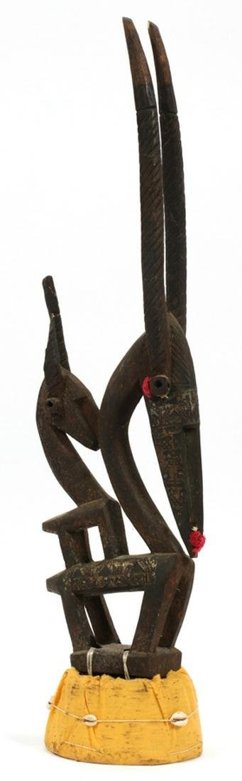 """AFRICAN CARVED WOOD CEREMONIAL HAT, H 29"""""""