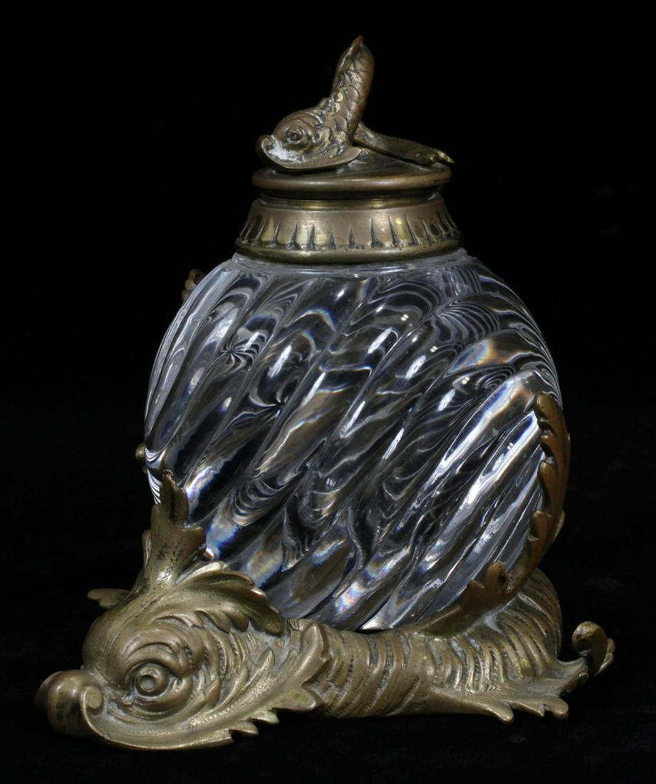 """DOLPHIN FORM CRYSTAL, BRASS INKWELL H 6"""" DIA 6"""""""