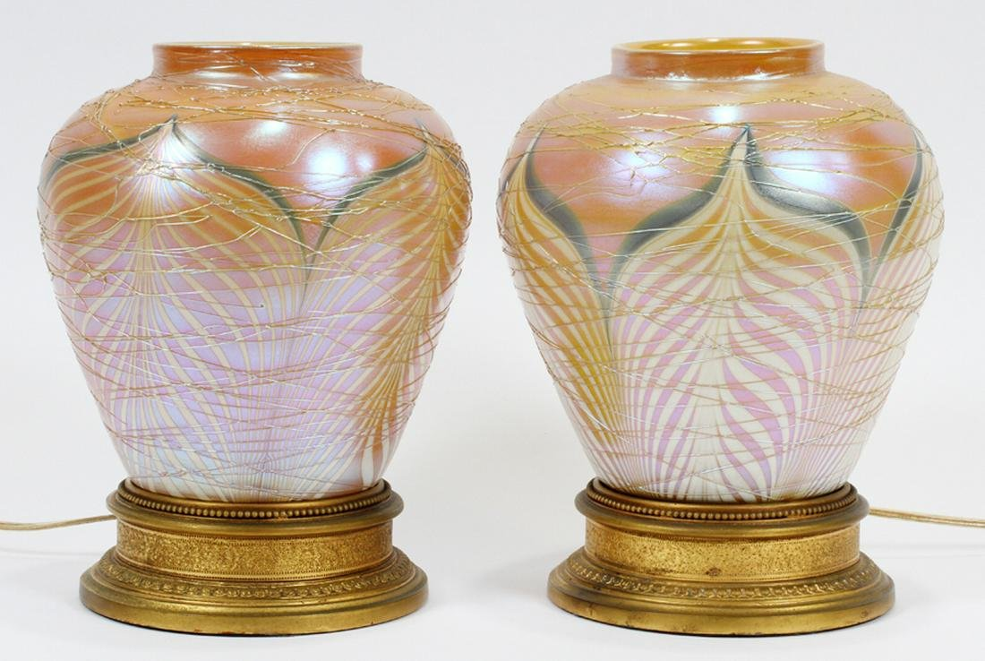 PAIR SIGNED DURAND GLASS, BRONZE LAMPS 2