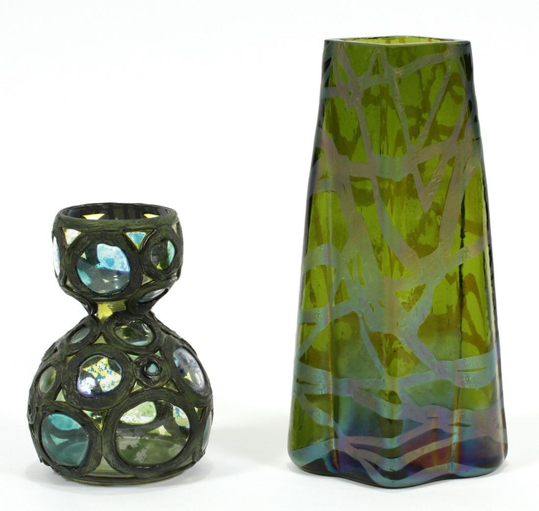 """TWO LOETZ ART GLASS VASES H 6.25"""" W 3.75"""""""