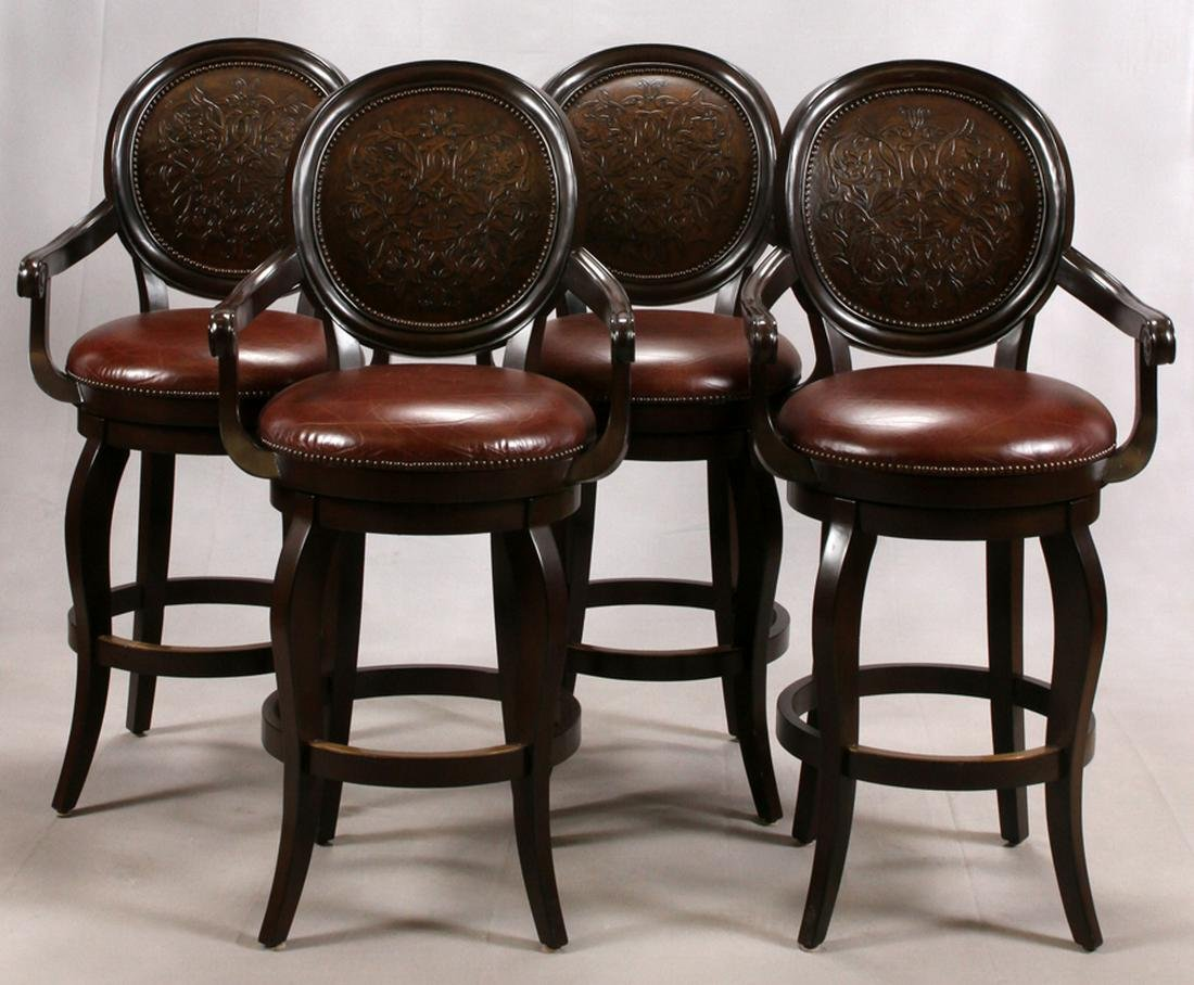 FRONTGATE LEATHER BAR CHAIRS, 4 PCS