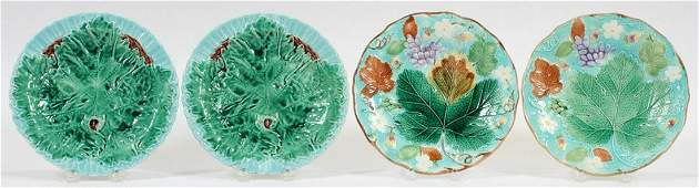 WEDGWOOD AND OTHER MAJOLICA POTTERY PLATES