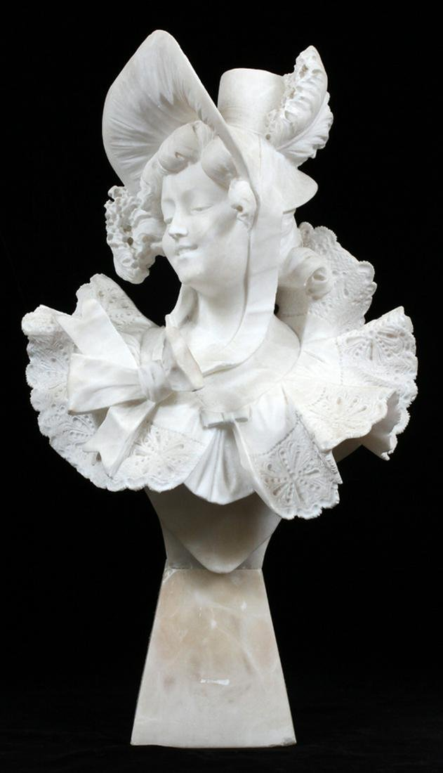 FRENCH MARBLE SCULPTURE ELEGANT LADY WEARING HAT