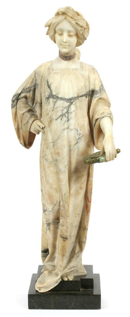ITALIAN CARVED MARBLE MUSE HOLDING LYRE
