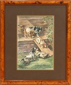 EDMUND OSTHAUS WATERCOLOR PLAYFUL PUPPIES