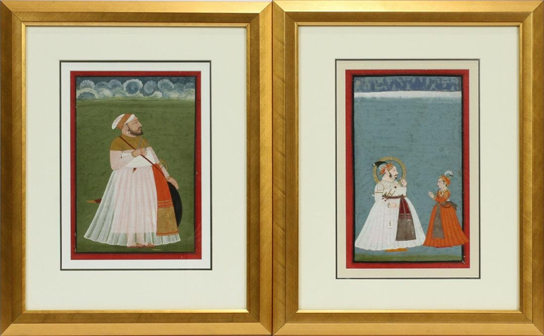 MUGHAL INDIAN, GOUACHE ON PAPER, PAINTINGS