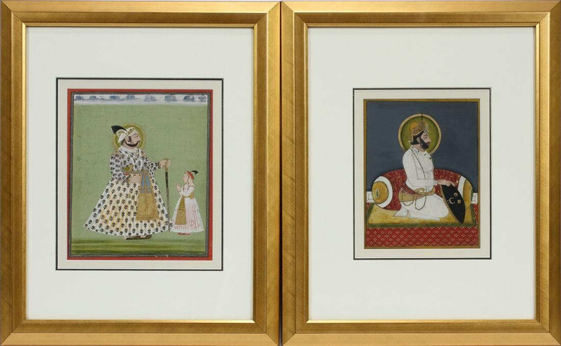 INDIAN MUGHAL GOUACHE PAINTINGS ON PAPER, 2