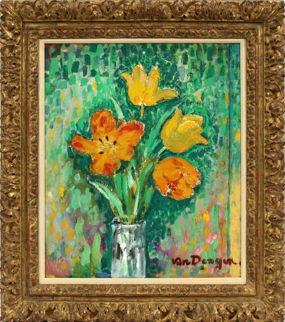 "KEES VAN DONGEN OIL ON PLYWOOD PANEL, ""TULIPS"""