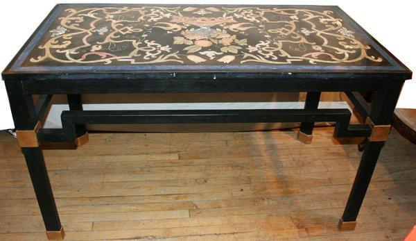 010007: PIETRA DURA ITALIAN MOSAIC & SLATE TABLE