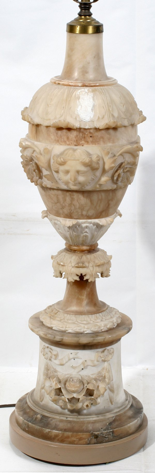 """010010: ITALIAN ALABASTER RELIEF LAMP, ANTIQUE, H41"""""""