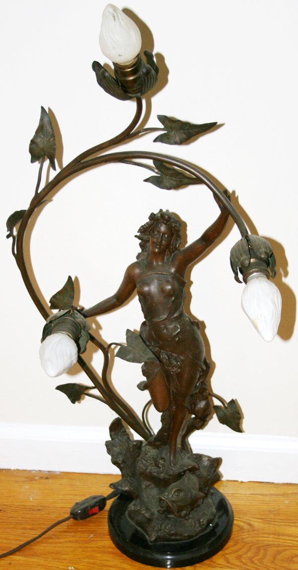 010012: FRENCH SPELTER & MARBLE TORCHIERE, C.1900