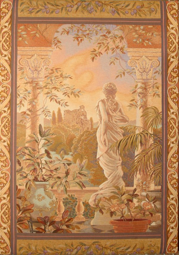 """010019: NEOCLASSICAL STYLE WALL TAPESTRY, H76"""" W53.5"""""""