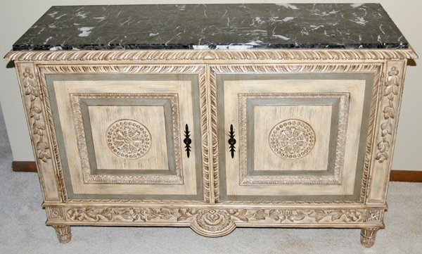 """010021: MARBLE TOP COMMODE, 20TH C., H34.5"""" L54"""" D19"""""""