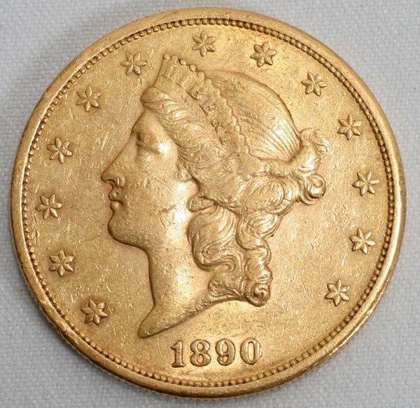 010115: U.S. $20 LIBERTY HEAD GOLD COIN, 1890-S