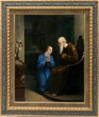 010174 BELGIAN OIL ON CANVAS RELIGIOUS SCENE