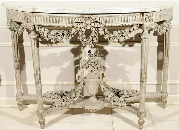 011001: LOUIS XVI GESSO & WOOD CONSOLE W/ MARBLE TOP