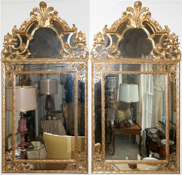 "011002: LOUIS XVI GOLD LEAF MIRRORS 60""x29.8"" OVERALL"