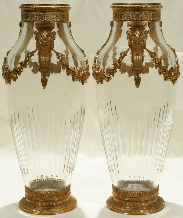 011008: FRENCH CRYSTAL URNS W/ D'ORE BRONZE MOUNTS