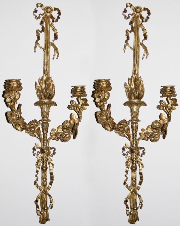 011009: FRENCH D'ORE BRONZE SCONCES, SIGNED, 19TH C.