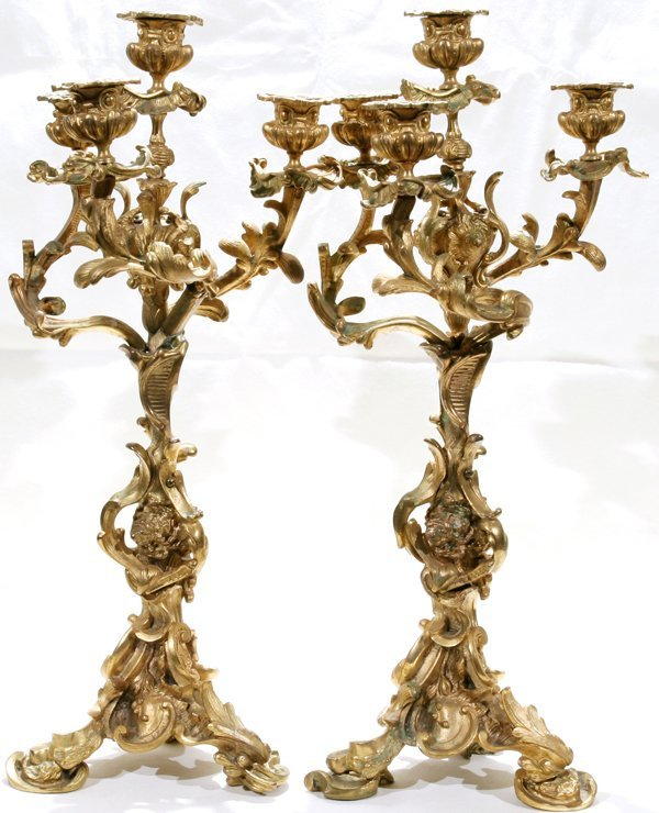 "011010: FRENCH BRONZE CANDELABRAS, 19TH C. H18.8"" W9"""