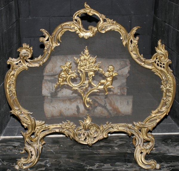 011014: FRENCH BRONZE FIRE SCREEN 19TH C. H28.5""