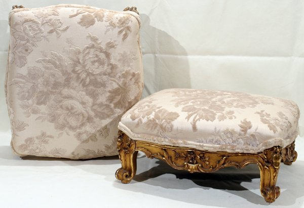 011015: FRENCH GILT GESSO & WOOD FOOT STOOLS 19TH C.