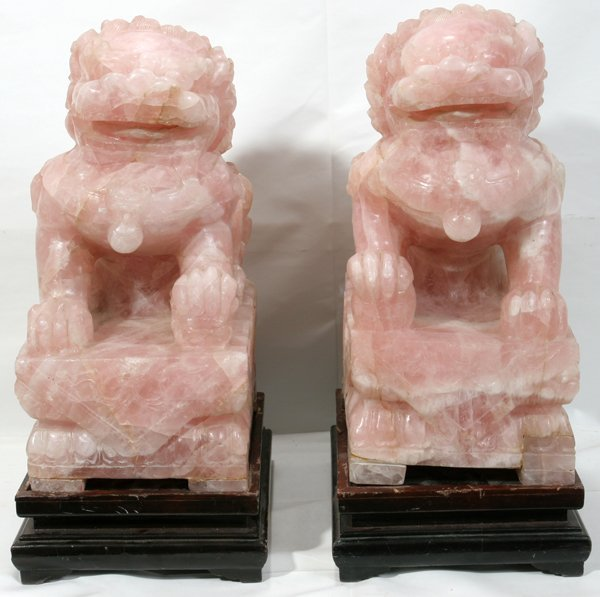 "011250: CHINESE ROSE QUARTZ FOO DOGS H20"" D12"" - 2"