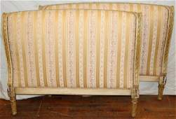 011369 FRENCH SILKUPHOLSTERED TWIN HEADBOARDS W46