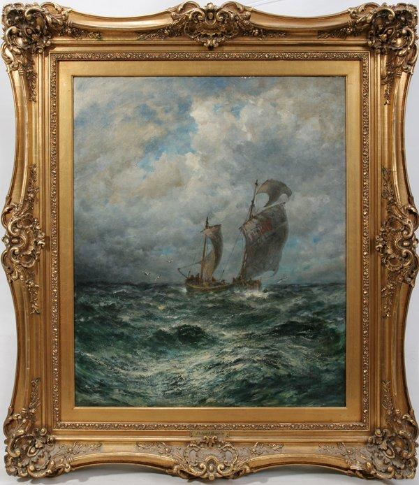 012005: ROBERT HOPKIN OIL ON CANVAS, SEASCAPE W/ SHIP