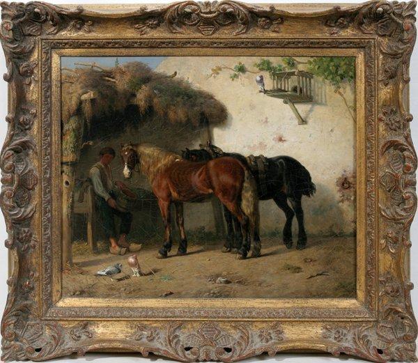 012007: HENDRIK VAN INGEN OIL ON CANVAS, HORSES