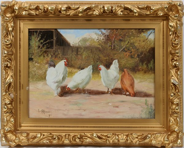 012019: PAUL HARNEY OIL ON CANVAS, CHICKENS IN FARM