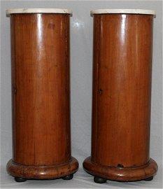 BIEDERMEIER WALLNUT & MARBLE TOP PEDESTALS