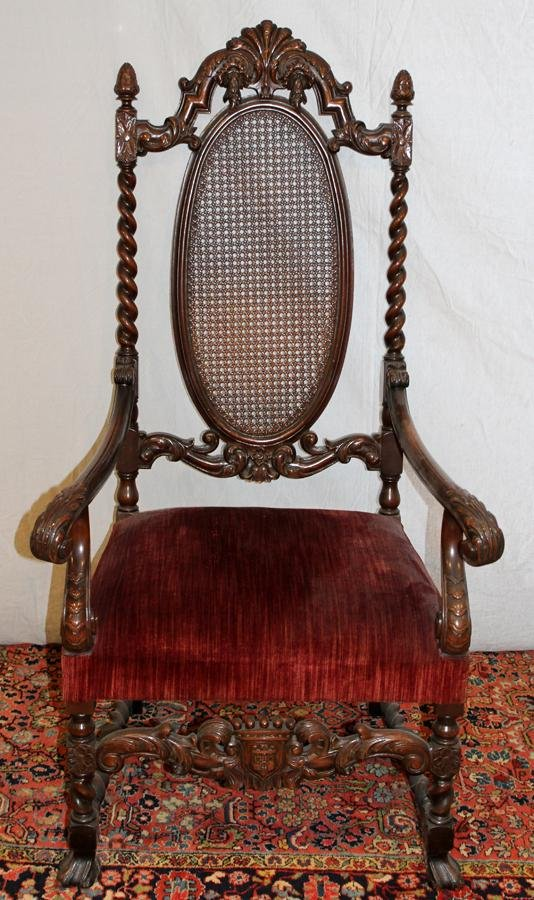 ITALIAN CARVED WALNUT & CANE BACK OPEN ARM CHAIR