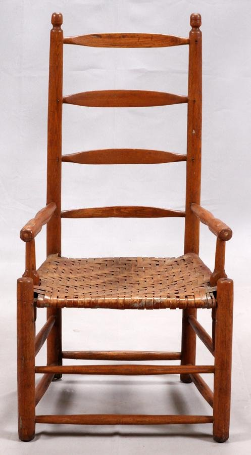 AMERICAN, PRIMITAVE LADDER BACK, PINE, ARM CHAIR