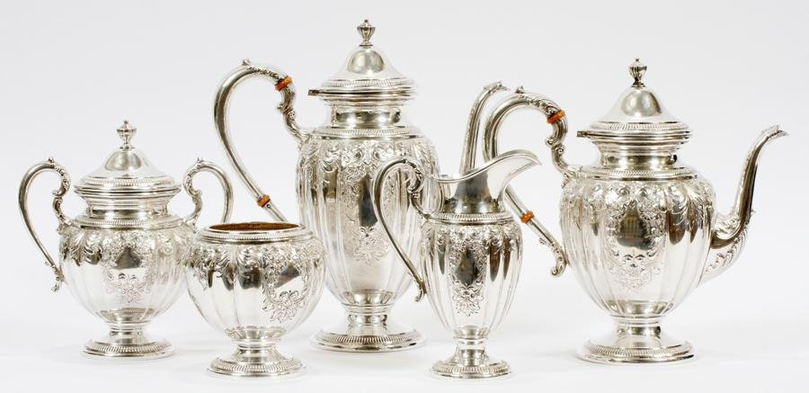 FRANK WHITING CO. STERLING TEA & COFFEE SET 5 PC